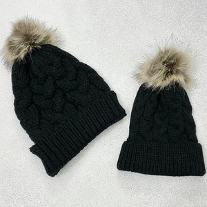 Mom & Mini Matching Black Beanie Hats